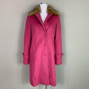 Badgley Mischka Pink Wool Fur Collar Coat Small